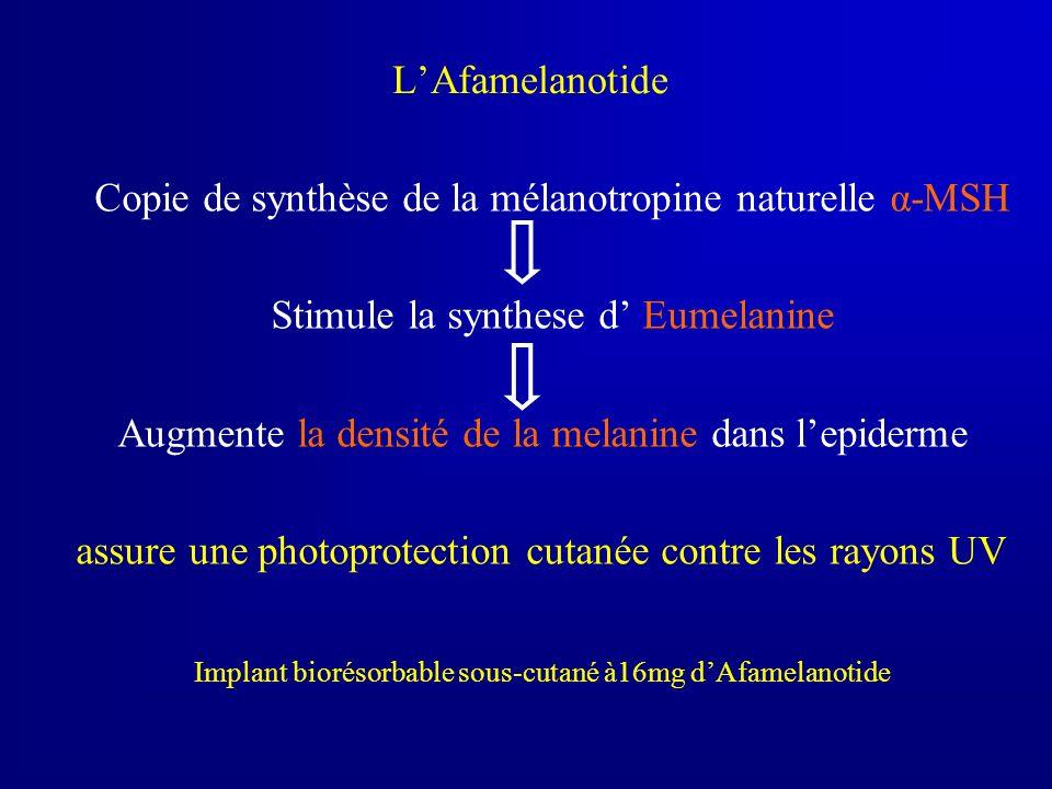 LAfamelanotide Copie de synthèse de la mélanotropine naturelle α-MSH Stimule la synthese d Eumelanine Augmente la densité de la melanine dans lepiderm