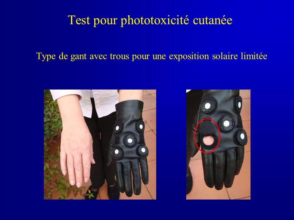 Test pour phototoxicité cutanée Type de gant avec trous pour une exposition solaire limitée photo