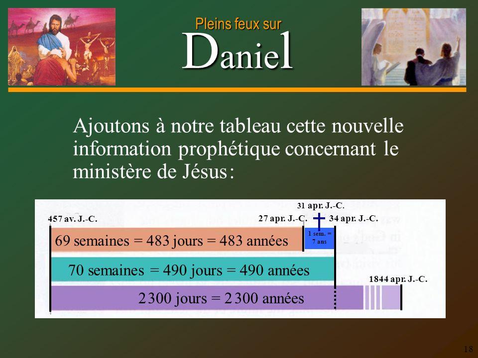 D anie l Pleins feux sur 18 Ajoutons à notre tableau cette nouvelle information prophétique concernant le ministère de Jésus : 70 semaines = 490 jours
