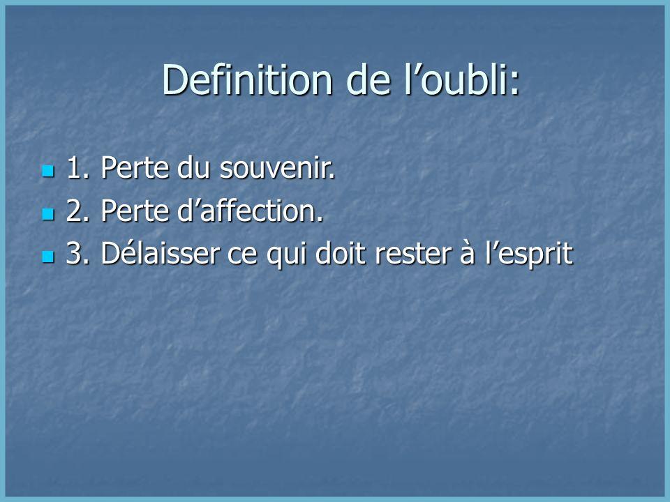 Definition de loubli: Definition de loubli: 1.Perte du souvenir.