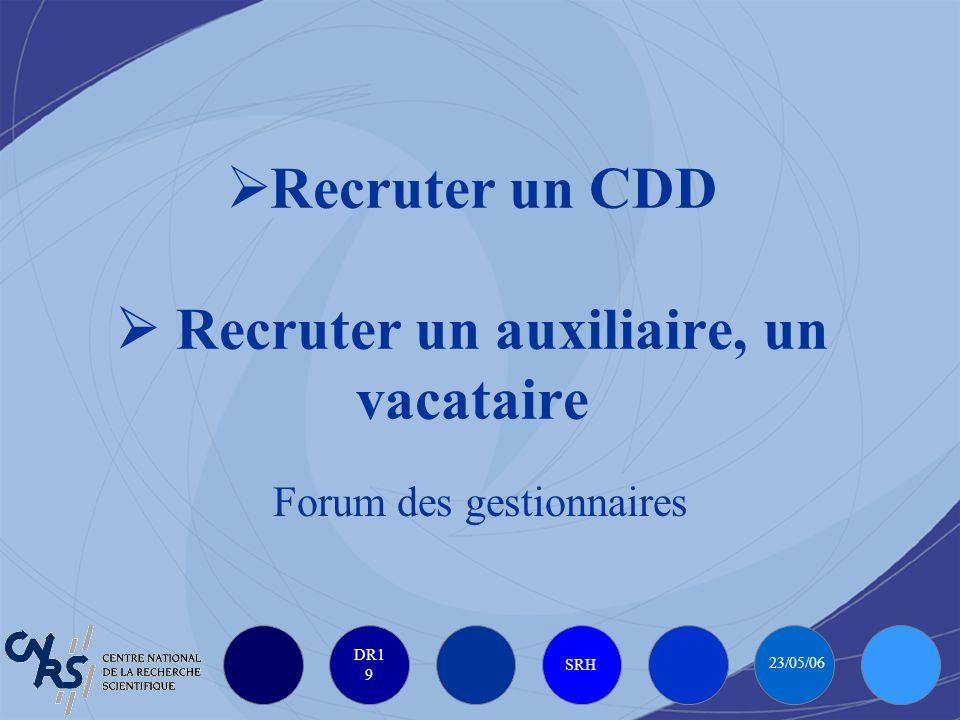 DR1 9 SRH 23/05/06 Recruter un CDD Recruter un auxiliaire, un vacataire Forum des gestionnaires
