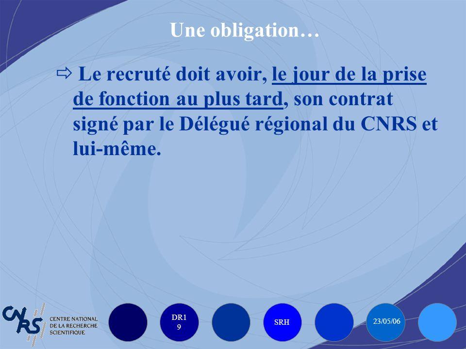 DR1 9 SRH 23/05/06 Une obligation… Le recruté doit avoir, le jour de la prise de fonction au plus tard, son contrat signé par le Délégué régional du CNRS et lui-même.