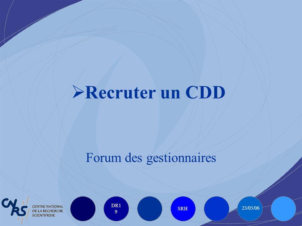 DR1 9 SRH 23/05/06 Recruter un CDD Forum des gestionnaires