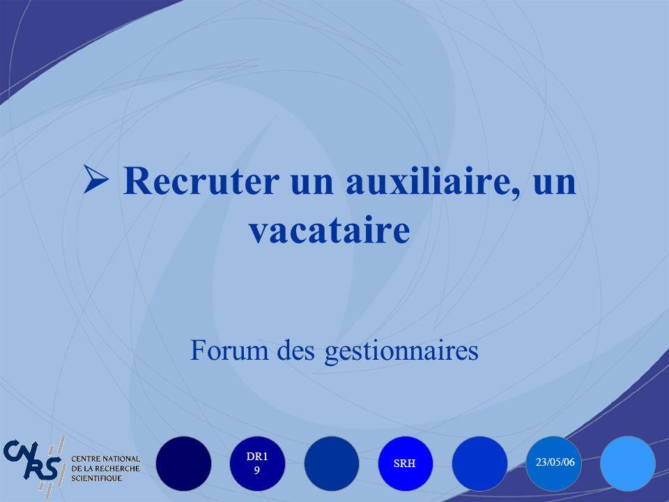 DR1 9 SRH 23/05/06 Recruter un auxiliaire, un vacataire Forum des gestionnaires