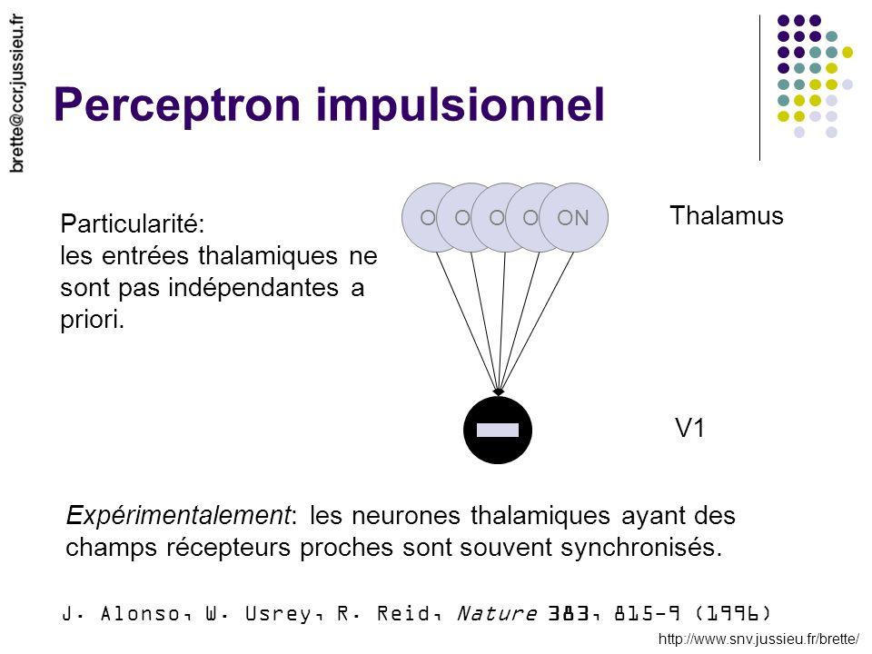 http://www.snv.jussieu.fr/brette/ Perceptron impulsionnel ON Thalamus V1 Particularité: les entrées thalamiques ne sont pas indépendantes a priori. J.