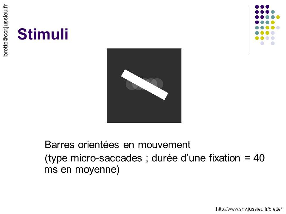 http://www.snv.jussieu.fr/brette/ Stimuli Barres orientées en mouvement (type micro-saccades ; durée dune fixation = 40 ms en moyenne)