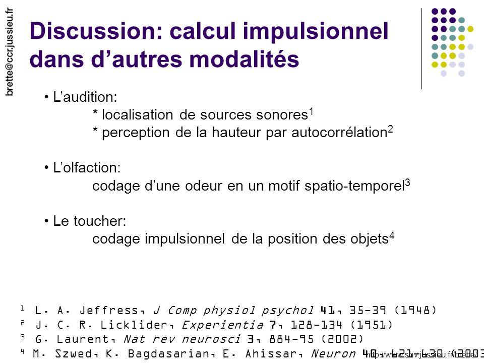 http://www.snv.jussieu.fr/brette/ Discussion: calcul impulsionnel dans dautres modalités Laudition: * localisation de sources sonores 1 * perception d