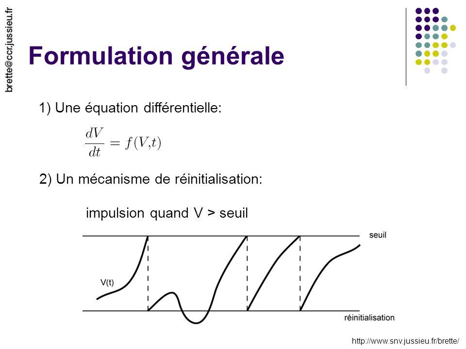 http://www.snv.jussieu.fr/brette/ Formulation générale 1) Une équation différentielle: 2) Un mécanisme de réinitialisation: impulsion quand V > seuil