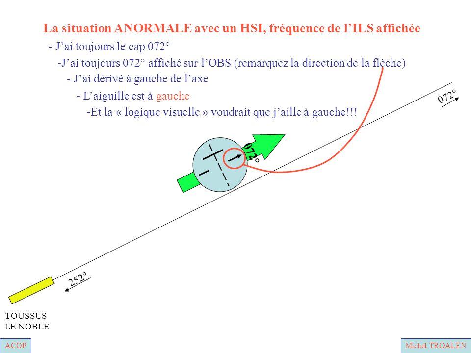 ACOPMichel TROALEN 252° 072° TOUSSUS LE NOBLE - Laiguille est à gauche - Jai dérivé à gauche de laxe -Jai toujours 072° affiché sur lOBS (remarquez la direction de la flèche) - Jai toujours le cap 072° -Et la « logique visuelle » voudrait que jaille à gauche!!.