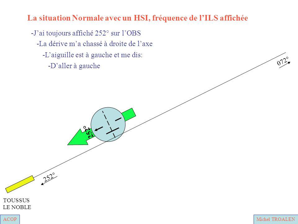 ACOPMichel TROALEN 252° 072° TOUSSUS LE NOBLE -Daller à gauche -Laiguille est à gauche et me dis: -La dérive ma chassé à droite de laxe -Jai toujours affiché 252° sur lOBS La situation Normale avec un HSI, fréquence de lILS affichée