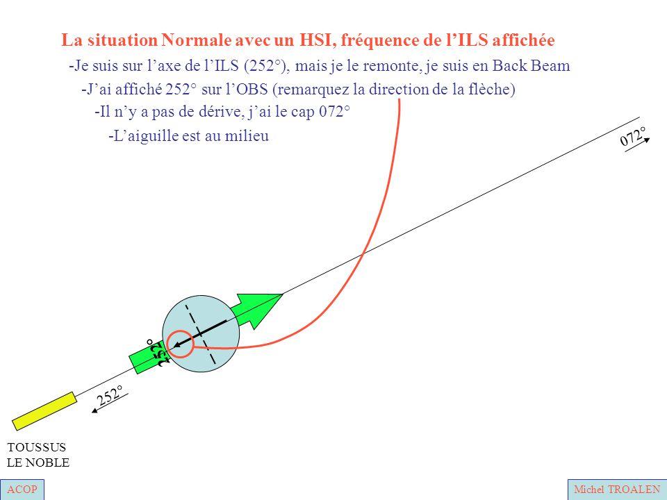 ACOPMichel TROALEN 252° 072° TOUSSUS LE NOBLE -Laiguille est au milieu -Il ny a pas de dérive, jai le cap 072° -Jai affiché 252° sur lOBS (remarquez la direction de la flèche) -Je suis sur laxe de lILS (252°), mais je le remonte, je suis en Back Beam La situation Normale avec un HSI, fréquence de lILS affichée