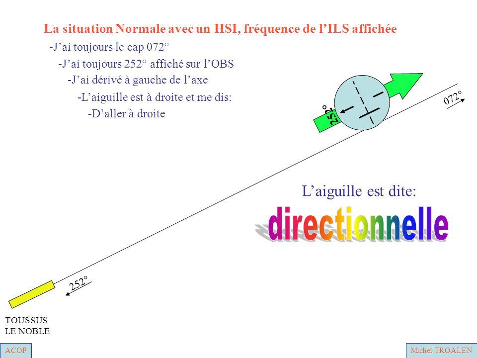 ACOPMichel TROALEN 252° 072° TOUSSUS LE NOBLE -Laiguille est à droite et me dis: -Jai dérivé à gauche de laxe -Jai toujours 252° affiché sur lOBS -Jai toujours le cap 072° -Daller à droite 252° Laiguille est dite: La situation Normale avec un HSI, fréquence de lILS affichée