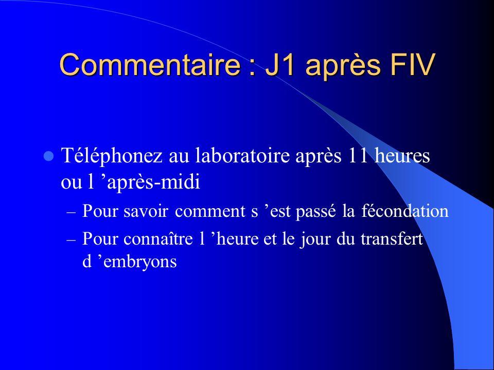 Commentaire : J1 après FIV Téléphonez au laboratoire après 11 heures ou l après-midi – Pour savoir comment s est passé la fécondation – Pour connaître