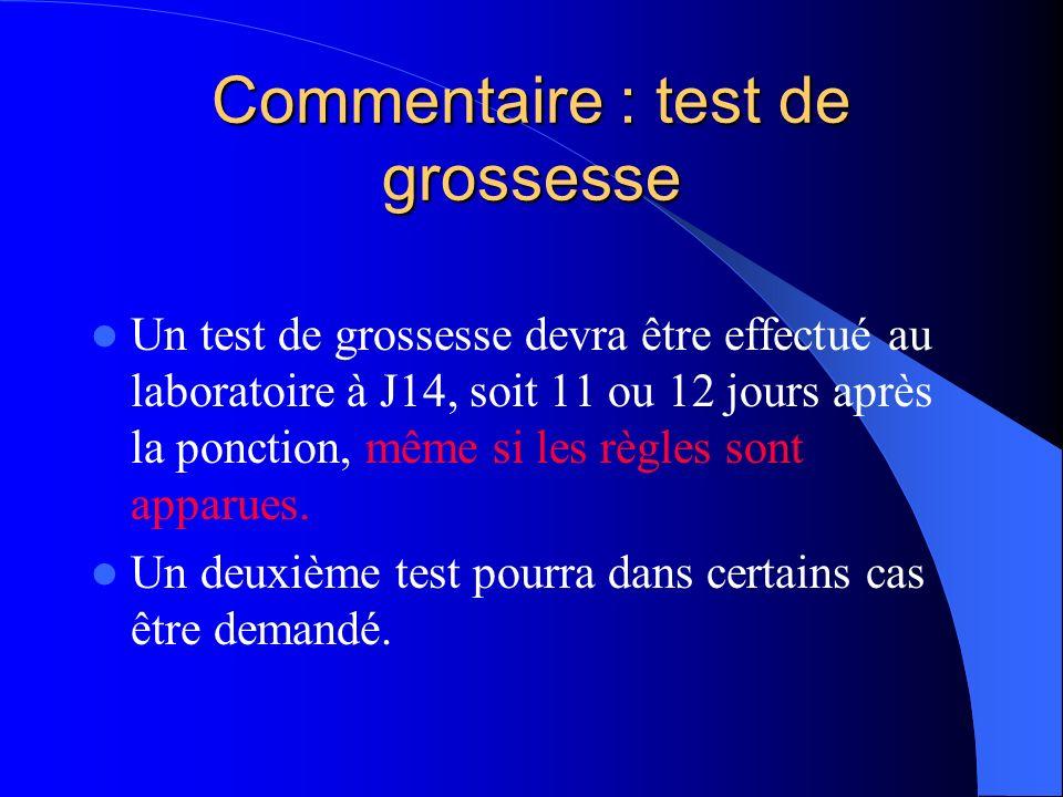 Commentaire : test de grossesse Un test de grossesse devra être effectué au laboratoire à J14, soit 11 ou 12 jours après la ponction, même si les règl