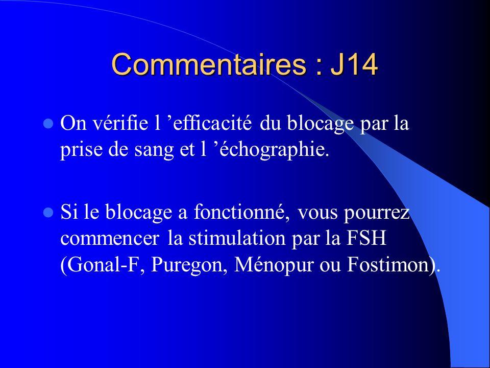 Commentaires : J14 On vérifie l efficacité du blocage par la prise de sang et l échographie. Si le blocage a fonctionné, vous pourrez commencer la sti