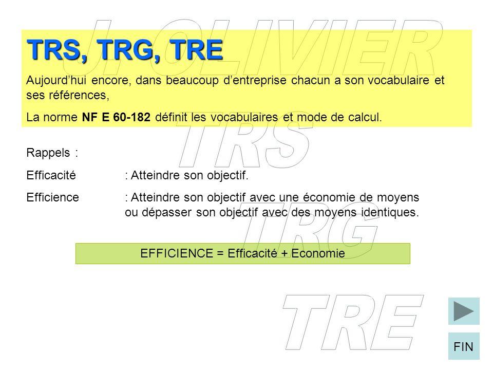 FIN TRS, TRG, TRE Aujourdhui encore, dans beaucoup dentreprise chacun a son vocabulaire et ses références, La norme NF E 60-182 définit les vocabulair
