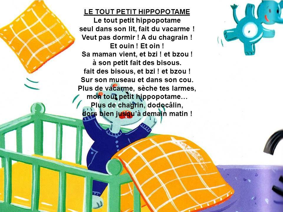 LE TOUT PETIT HIPPOPOTAME Le tout petit hippopotame seul dans son lit, fait du vacarme .
