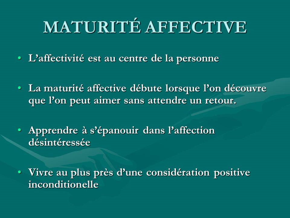 MATURITÉ AFFECTIVE Laffectivité est au centre de la personneLaffectivité est au centre de la personne La maturité affective débute lorsque lon découvr