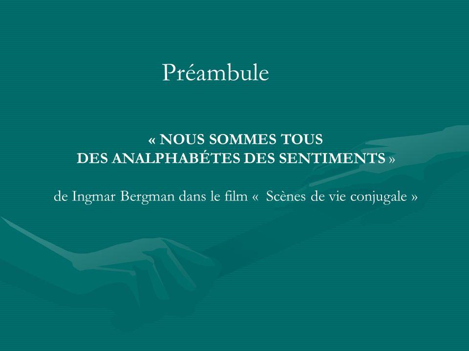 Préambule « NOUS SOMMES TOUS DES ANALPHABÉTES DES SENTIMENTS » de Ingmar Bergman dans le film « Scènes de vie conjugale »
