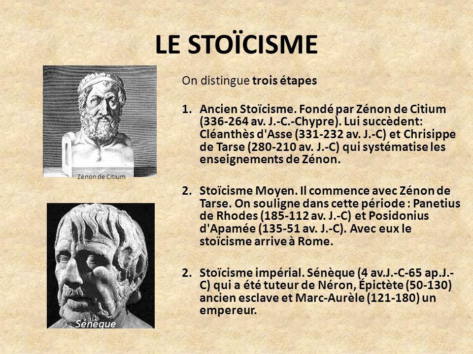 LE STOÏCISME On distingue trois étapes 1.Ancien Stoïcisme.
