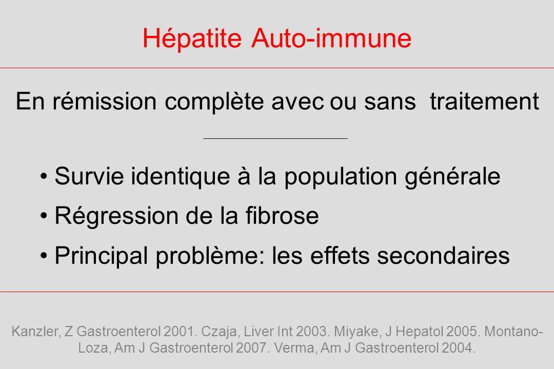 Hépatite Auto-immune Survie identique à la population générale Régression de la fibrose Principal problème: les effets secondaires En rémission complète avec ou sans traitement Kanzler, Z Gastroenterol 2001.
