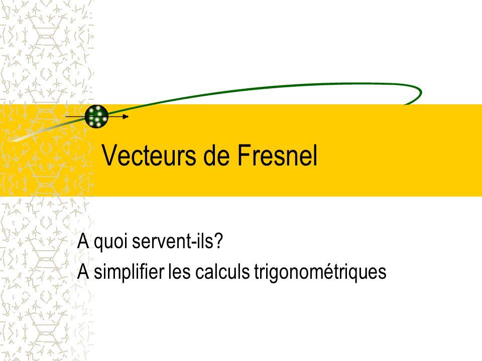 Vecteurs de Fresnel A quoi servent-ils? A simplifier les calculs trigonométriques