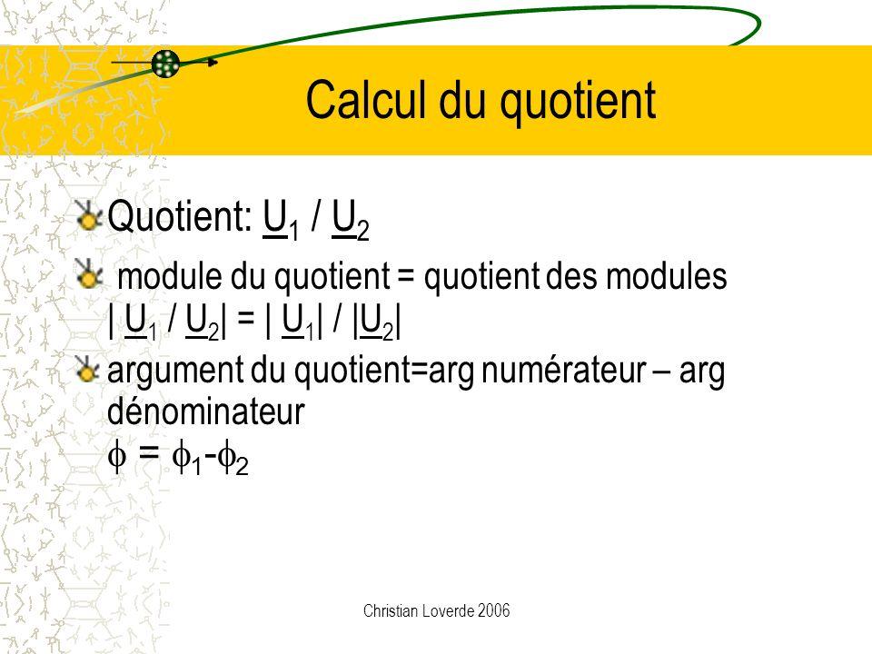 Christian Loverde 2006 Somme de 3 + 2j et 4 - j Exemple U 1 =3 + 2j et U 2 =4-j Partie réelle de S = 3 + 4 = 7 Partie imaginaire de S = 2 – 1 = 1 Somm