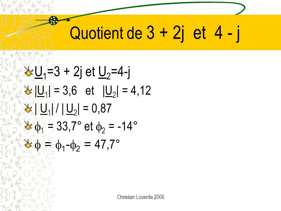 Christian Loverde 2006 Calcul du quotient Quotient: U 1 / U 2 module du quotient = quotient des modules | U 1 / U 2 | = | U 1 | / |U 2 | argument du q