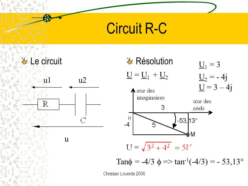 Christian Loverde 2006 Quotient de 3 + 2j et 4 - j U 1 =3 + 2j et U 2 =4-j |U 1 | = 3,6 et |U 2 | = 4,12 | U 1 | / | U 2 | = 0,87 1 = 33,7° et 2 = -14