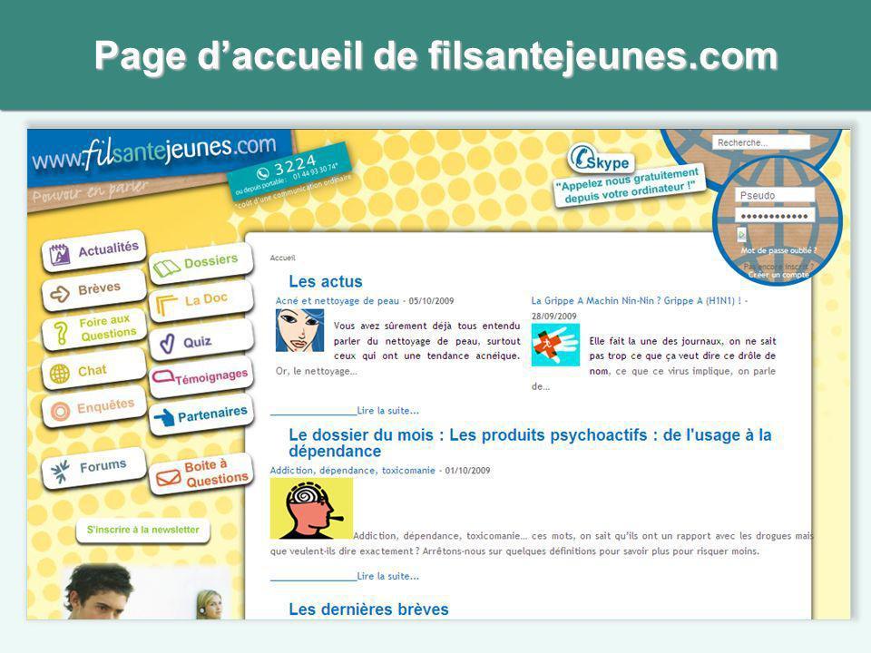 Page daccueil de filsantejeunes.com