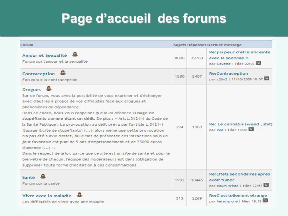 Page daccueil des forums