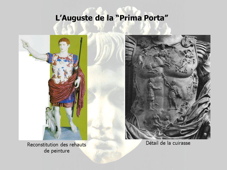 LAuguste de la Prima Porta Détail de la cuirasse Reconstitution des rehauts de peinture
