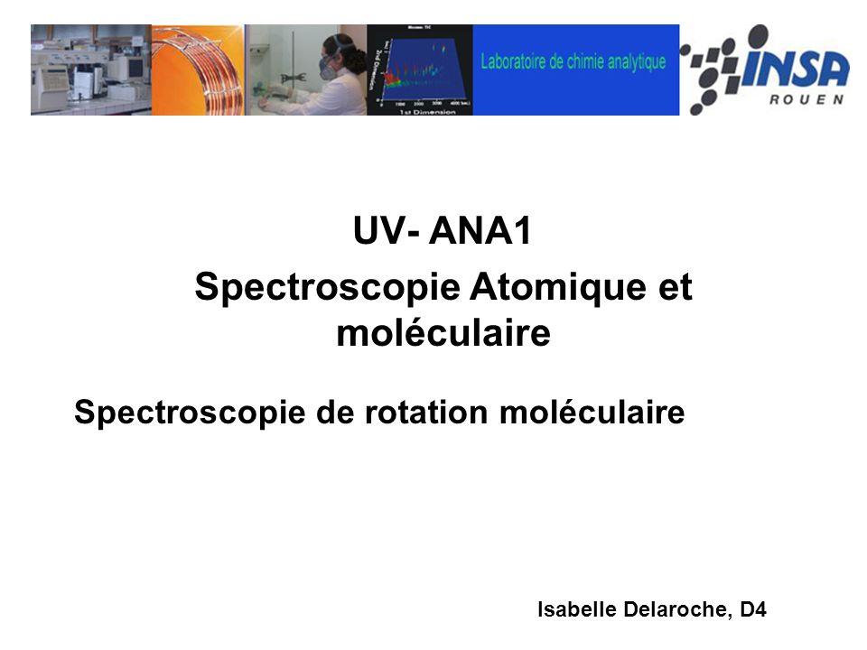 UV- ANA1 Spectroscopie Atomique et moléculaire Isabelle Delaroche, D4 Spectroscopie de rotation moléculaire