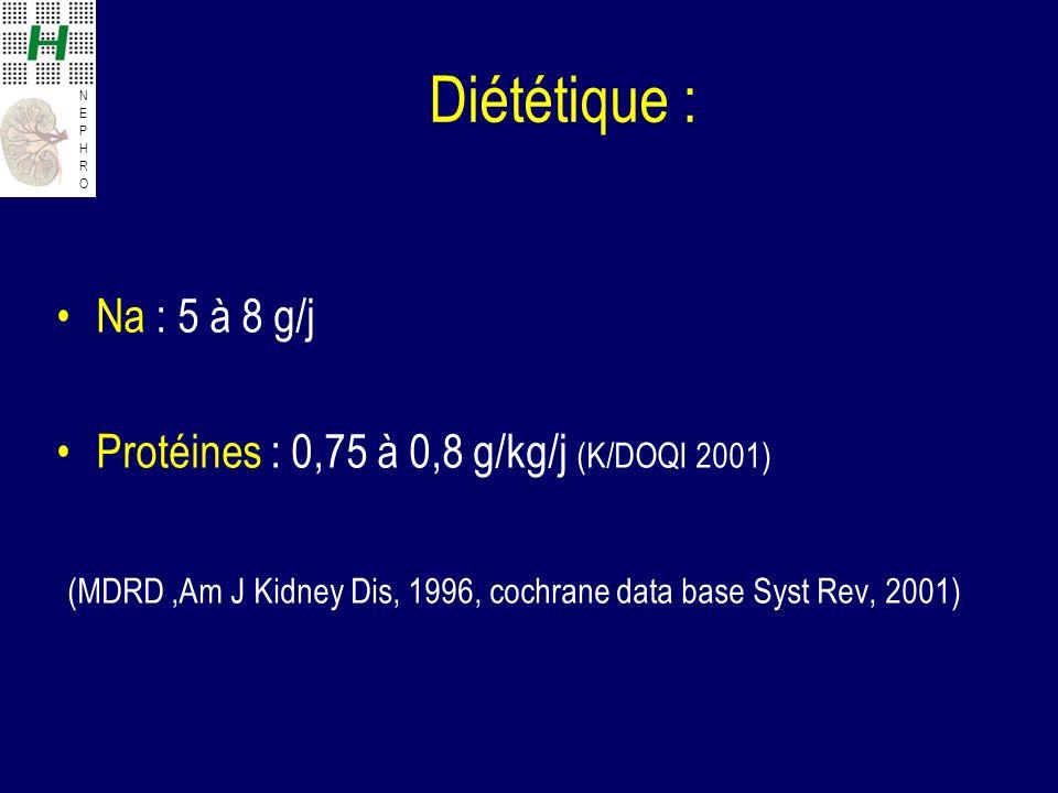 NEPHRONEPHRO Diététique : Na : 5 à 8 g/j Protéines : 0,75 à 0,8 g/kg/j (K/DOQI 2001) (MDRD,Am J Kidney Dis, 1996, cochrane data base Syst Rev, 2001)