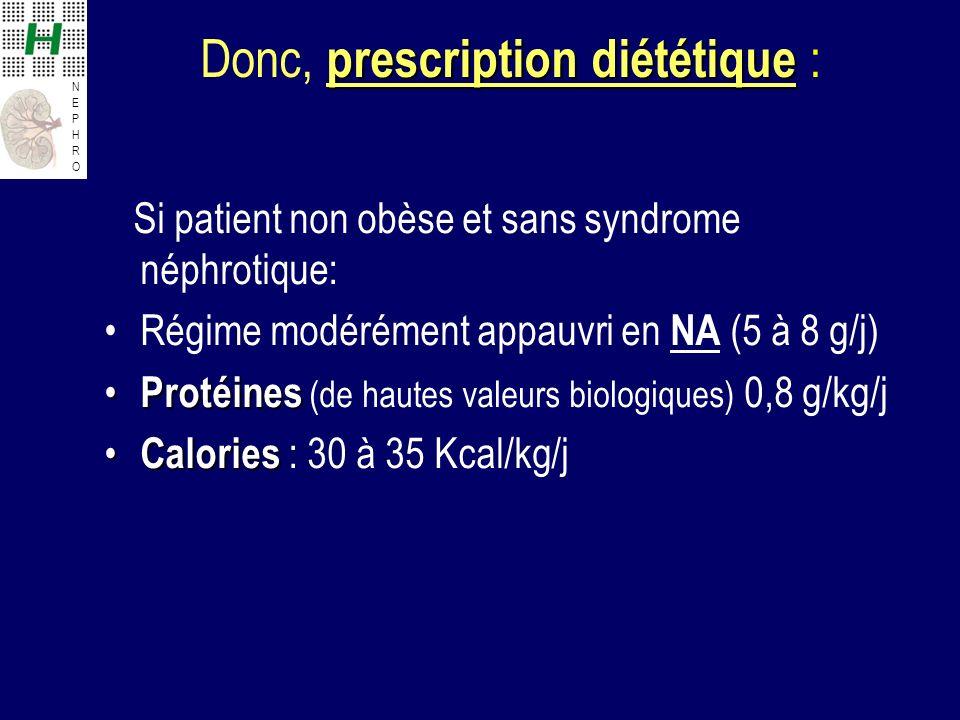 NEPHRONEPHRO prescription diététique Donc, prescription diététique : Si patient non obèse et sans syndrome néphrotique: Régime modérément appauvri en NA (5 à 8 g/j) Protéines Protéines (de hautes valeurs biologiques) 0,8 g/kg/j Calories Calories : 30 à 35 Kcal/kg/j