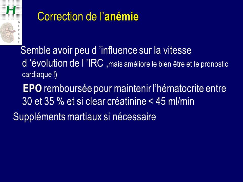 NEPHRONEPHRO anémie Correction de l anémie Semble avoir peu d influence sur la vitesse d évolution de l IRC, mais améliore le bien être et le pronosti