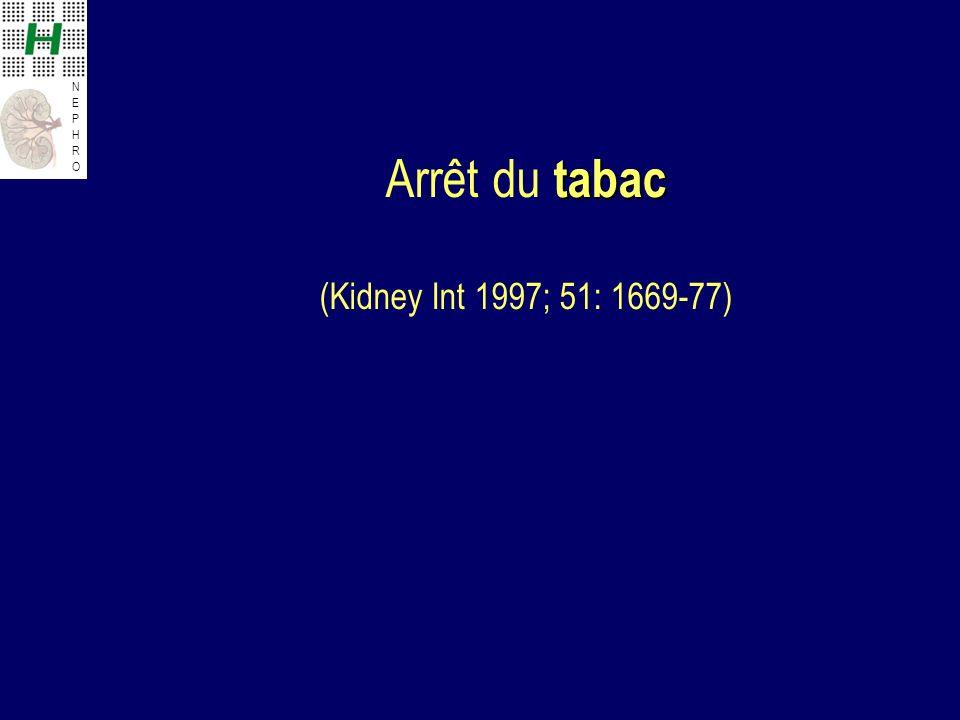 NEPHRONEPHRO tabac Arrêt du tabac (Kidney Int 1997; 51: 1669-77)