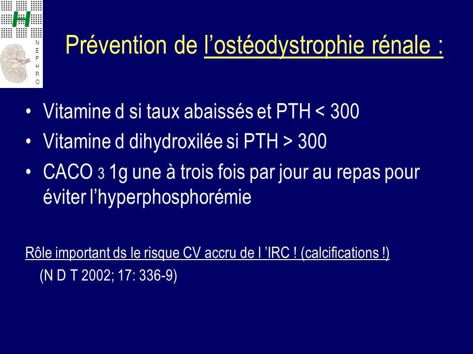 NEPHRONEPHRO Prévention de lostéodystrophie rénale : Vitamine d si taux abaissés et PTH < 300 Vitamine d dihydroxilée si PTH > 300 CACO 3 1g une à trois fois par jour au repas pour éviter lhyperphosphorémie Rôle important ds le risque CV accru de l IRC .