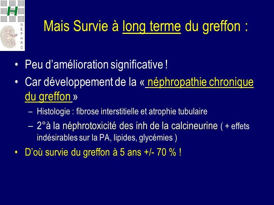 NEPHRONEPHRO Mais Survie à long terme du greffon : Peu damélioration significative ! Car développement de la « néphropathie chronique du greffon » –Hi