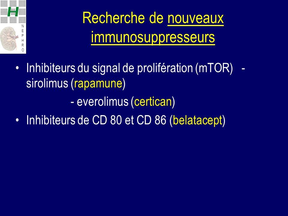 NEPHRONEPHRO Recherche de nouveaux immunosuppresseurs Inhibiteurs du signal de prolifération (mTOR) - sirolimus (rapamune) - everolimus (certican) Inhibiteurs de CD 80 et CD 86 (belatacept)
