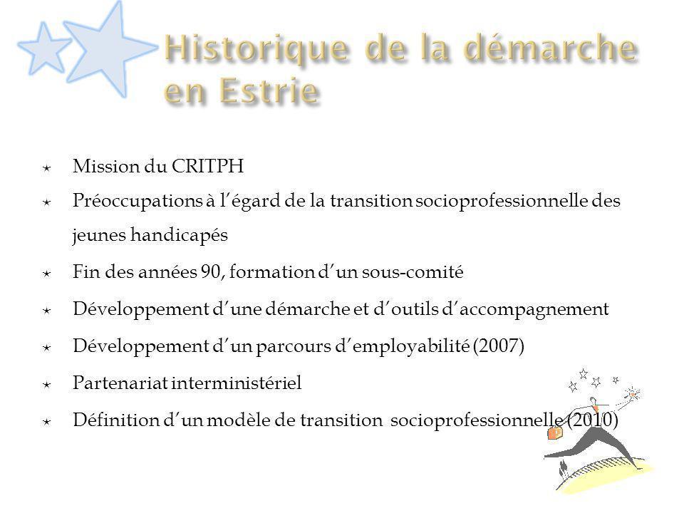 Mission du CRITPH Préoccupations à légard de la transition socioprofessionnelle des jeunes handicapés Fin des années 90, formation dun sous-comité Dév