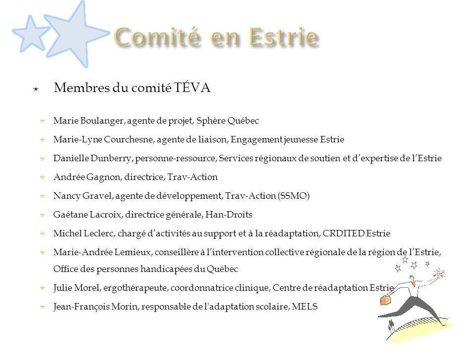 Membres du comité TÉVA Marie Boulanger, agente de projet, Sphère Québec Marie-Lyne Courchesne, agente de liaison, Engagement jeunesse Estrie Danielle