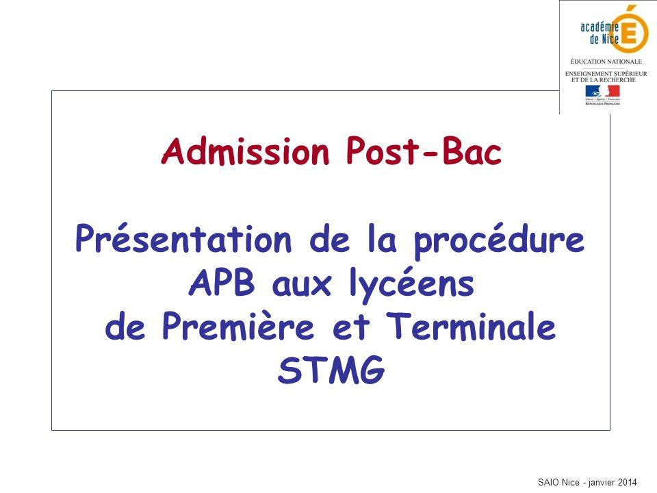 SAIO Nice - janvier 2014 Admission Post-Bac Présentation de la procédure APB aux lycéens de Première et Terminale STMG