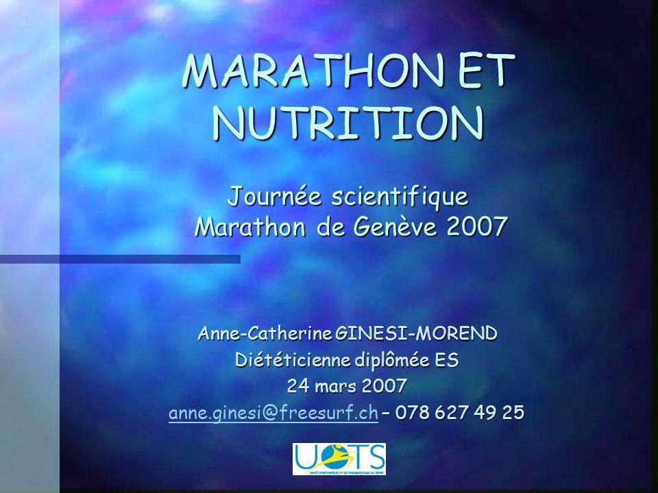 MARATHON ET NUTRITION Journée scientifique Marathon de Genève 2007 Anne-Catherine GINESI-MOREND Diététicienne diplômée ES 24 mars 2007 – 078 627 49 25 anne.ginesi@freesurf.ch – 078 627 49 25 anne.ginesi@freesurf.ch
