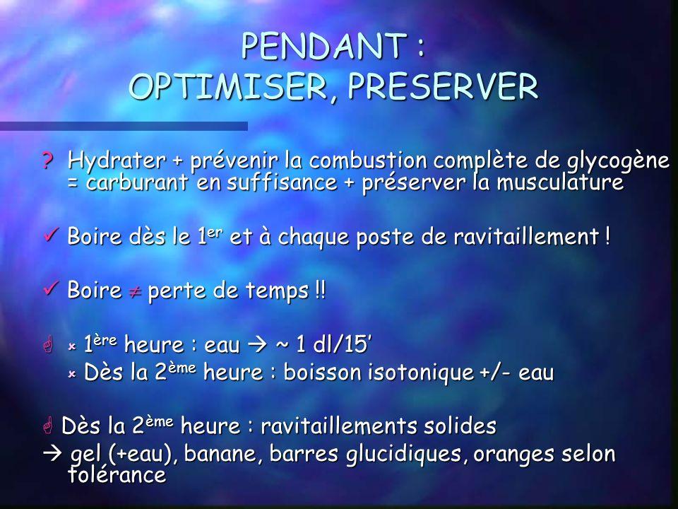 PENDANT : OPTIMISER, PRESERVER ? Hydrater + prévenir la combustion complète de glycogène = carburant en suffisance + préserver la musculature Boire dè