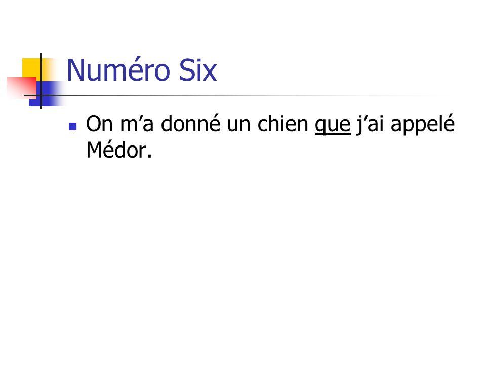 Numéro Six On ma donné un chien que jai appelé Médor.