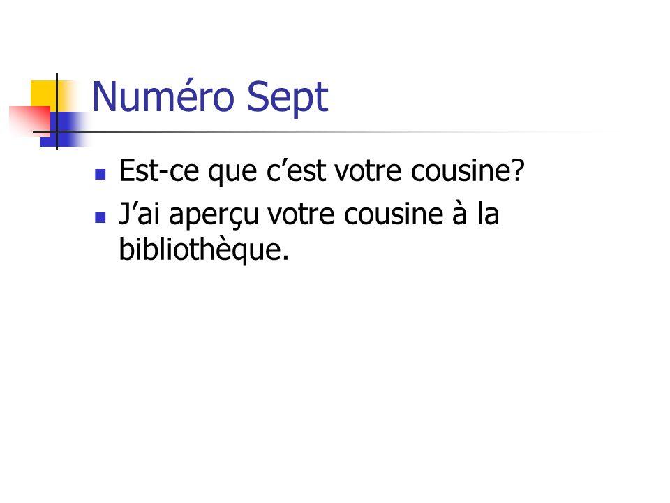 Numéro Sept Est-ce que cest votre cousine? Jai aperçu votre cousine à la bibliothèque.