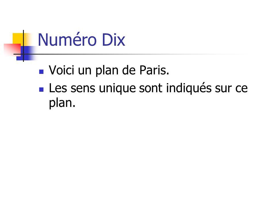 Numéro Dix Voici un plan de Paris. Les sens unique sont indiqués sur ce plan.