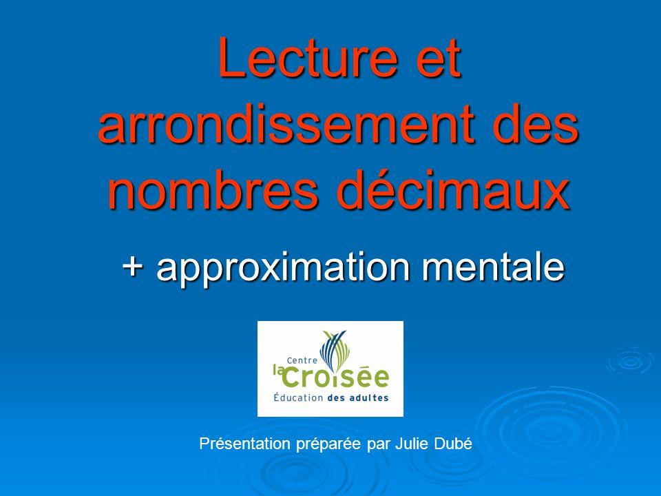 Lecture et arrondissement des nombres décimaux + approximation mentale Présentation préparée par Julie Dubé