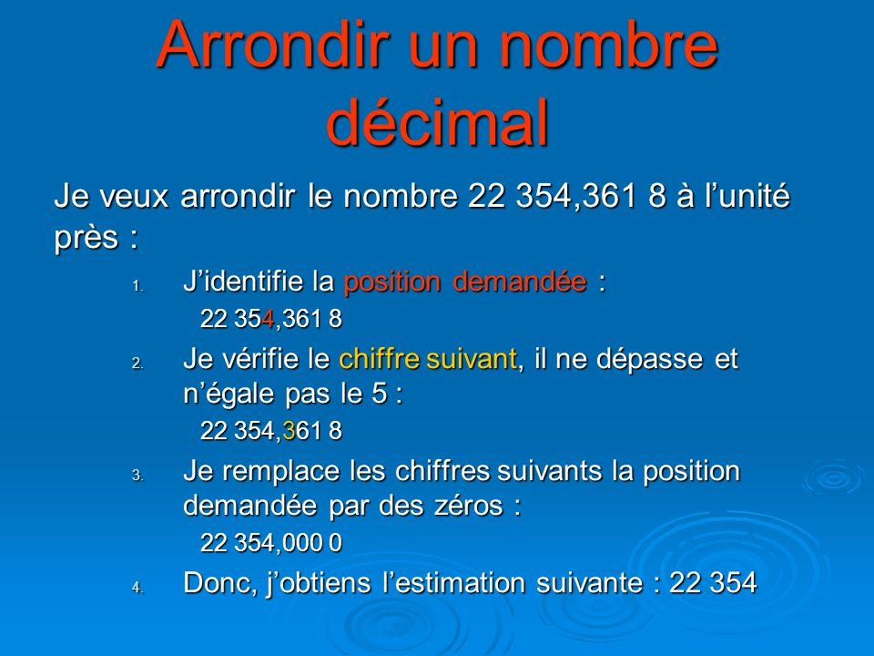Arrondir un nombre décimal Je veux arrondir le nombre 22 354,361 8 au dixième près : 1.